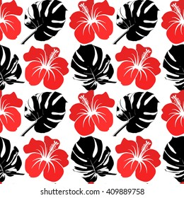 Vector seamless pattern with black tropical plants and red hibiscus flower