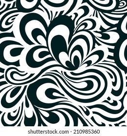 Vector seamless pattern of black and white waves and curves