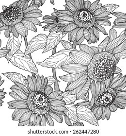 Vector seamless pattern of black and white sunflowers