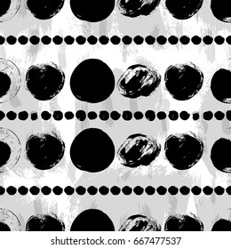 Vector seamless pattern. Black and white round brush strokes. Grungy hand drawn abstract lines made of circles. Geometric doodle art
