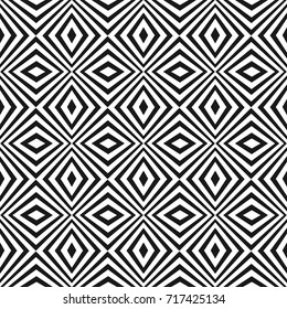 Vector seamless pattern with black and white stripes. Simple modern texture with crossing diagonal striped lines, rhombuses. Optical illusion effect. Monochrome geometric background. Pop art design