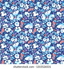 Vector seamless pattern, blooming absract white, blue flowers and violet, coral foliage. Illustration with floral  shapes and spots on navy background. Use in textiles, interior, wrapping paper.