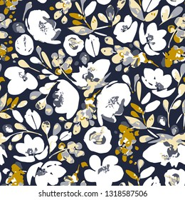 Vector seamless pattern, blooming absract white flowers and gray, yellow foliage. Illustration with floral composition on dark indigo background. Use in textiles, interior, wrapping paper and other.