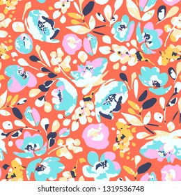 Vector seamless pattern, blooming absract cyan, pink flowers and yellow foliage-spots on coral background. Use in textiles, interior, wrapping paper and other design.