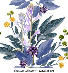 Vector seamless pattern with blue berries branch with violet leaves, yellow herbs and bels flowers. Hand drawn abstract illustration. White background.