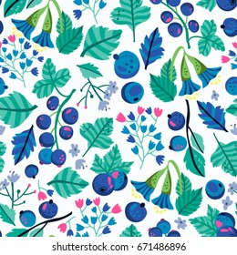 Vector seamless pattern of blue berries, leaves and flowers.