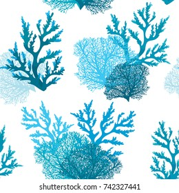 Vector seamless pattern with blue coral reef on a white background. Underwater wallpaper.