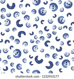 Vector seamless pattern is blue and Dark moderate blue color. Vector. Elements are not cropped. Pattern under the mask. Perfect design for textile, box, posters, cards etc.
