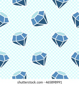 Vector seamless pattern with blue diamond. Hand drawn cute and funny fashion illustration. Modern doodle pop art sketch