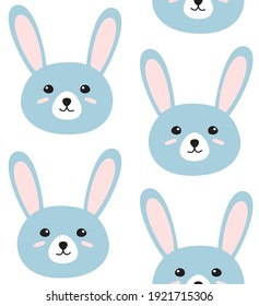 Vector seamless pattern of blue flat doodle hand drawn colored rabbit bunny face isolated on white background