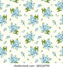 Vector seamless pattern with blue forget-me-not flowers.