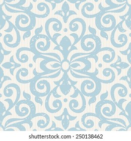 Vector seamless pattern with blue ornaments. Vintage element for design in Victorian style. Ornamental lace tracery. Ornate floral decor for wallpaper. Endless vintage texture. Light pattern fill.