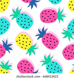 Vector seamless pattern: blue, pink, yellow pineapple fruits