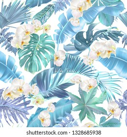 Vector seamless pattern with blue tropical leaves and orchid flowers on white. Exotic botanical background design for cosmetics, spa, textile, hawaiian shirt. Best as wrapping paper, wallpaper