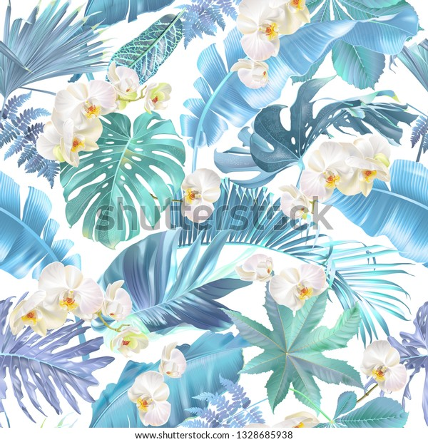 Vector Seamless Pattern Blue Tropical Leaves Stock Vector Royalty Free 1328685938 We have 65+ amazing background pictures carefully picked by our community. https www shutterstock com image vector vector seamless pattern blue tropical leaves 1328685938