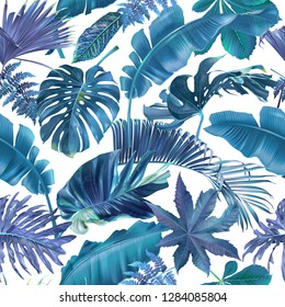 Vector seamless pattern with blue and violet tropical leaves on white background. Exotic botanical background design for cosmetics, spa, textile, hawaiian shirt. Best as wrapping paper, wallpaper
