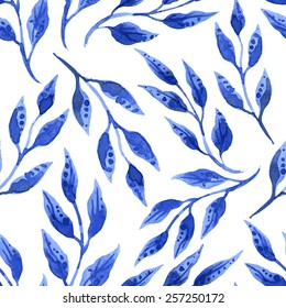Vector seamless pattern with blue watercolor stylized leaves
