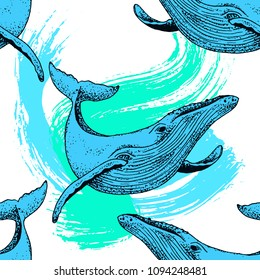 Vector seamless pattern blue whale illustration with paint splash, ink sketch with big swimming mammal. Isolated whale swimming in the ocean. Hand drawn illustration, abstract style with watercolour.