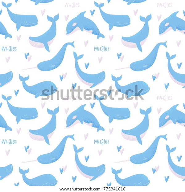 Vector seamless pattern with blue whale, sperm whale, narwhal, killer whale and humpback whale
