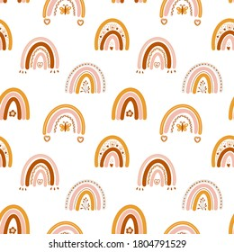 Vector seamless pattern with boho rainbows, flowers, hearts, sprigs and butterflies on white. Perfect decoration for kids playroom and bedroom, wallpapers, fabrics. Muted trendy colors. Wrapping paper