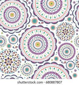 Vector seamless pattern in boho style. Bright colors, mandala flower. Boho background.