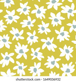 Vector seamless pattern of bold graphic floral print. Retro style simple white daisy flowers on lemon yellow background.