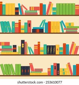 vector seamless pattern bookshelves, books