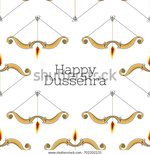 """Vector seamless pattern with a bow and arrow with a fiery tip. Inscription """"happy dussehra"""""""