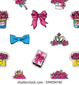 Vector seamless pattern with bow tie, bows, gift box, luxury queen crown, rose boutonniere, bouquet of roses, flower box, flowers bag. Fashion illustration, patches, stickers. Hand sketched background
