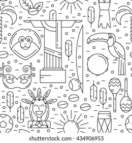 Vector seamless pattern with Brazil symbols in trendy linear style