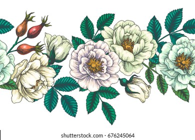 Vector seamless pattern with briar. Vintage botanical illustration of hip rose flowers, leaves, buds and berries. Floral texture with engraving eglantine. Sketch style.