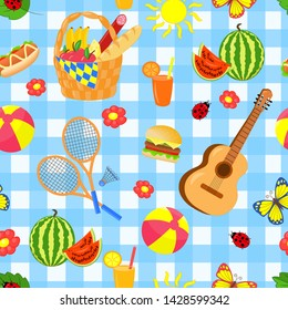 Vector seamless pattern with bright beautiful set for summer picnic on blue background