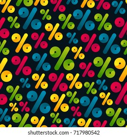Vector Seamless Pattern with Bright Colorful Percent Signs. Abstract Background for Promo Discount in Markets. Big Black Friday Sale Concept.