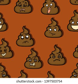 Vector Seamless Pattern of Brown Shit Emoticons
