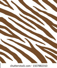 Vector seamless pattern of brown zebra tiger striped skin print isolated on white background