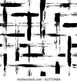 Vector seamless pattern with brush cross and strokes. Black color on white background. Hand painted grange texture. Ink geometric elements. Fashion modern style. Endless fabric print. Retro