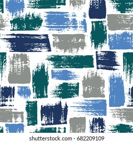 Vector seamless pattern with brush stripes and strokes. Blue color on white background. Hand painted grange texture. Ink geometric elements. Fashion modern style. Endless fabric unusual print.