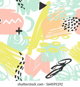 Vector seamless pattern with brush strokes in memphis style. Background for printing brochure, poster, party, summer print, vintage textile design, card. Pastel colors.