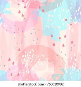 Vector seamless pattern with brush strokes. Background for printing brochure, poster, party, summer print, vintage textile design, card. Pastel colors.