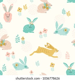 Vector seamless pattern with bunnies for Easter and other users. Design element.