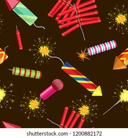Vector seamless pattern of burning fireworks and firecrackers. On a dark brown background