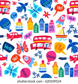 Vector seamless pattern of buses, ships, clouds, air balloons, rockets, colourful houses, flowers and etc.