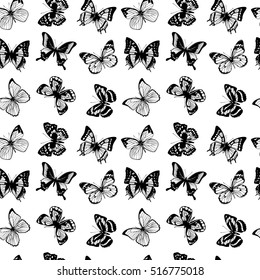 Vector seamless pattern with butterflies. Background with black butterflies, illustration of silhouette butterfly