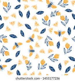 Vector seamless pattern with butterflies and bees, flowers, insects on white background. Scandinavian and Folk art style