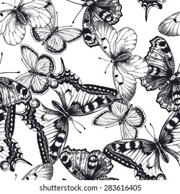 Vector seamless pattern with butterflies. Black and white illustration.