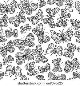 Vector seamless pattern with butterflies. Can be used for textile, website background, book cover, packaging.