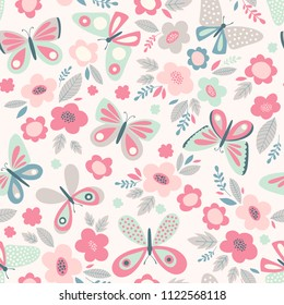 Vector seamless pattern with butterflies and flowers. Floral cute spring background. Retro vintage pastel colors.