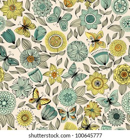 Vector seamless pattern with butterflies flying over the flowers.