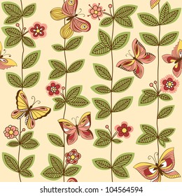 Vector seamless pattern with butterflies flying around the flowers