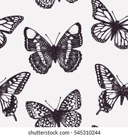 Vector seamless pattern with butterflies. Hand drawn ink illustration. Sketching. Vintage background. Graphic design. Engraving style. Tropical picture. Line art image. Textured summer art print.